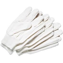 3 Pair Men's One Size White 8oz Cotton Work Gloves, with Knit Wrist thumb