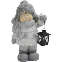 "16.5"" Resin Child Decor, with Lantern thumb"