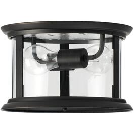 Bel-Air 2 Light Oil Rubbed Bronze Flushmount Fixture with Clear Glass thumb