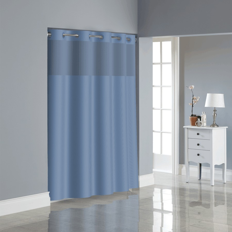 71W X 74L Midnight Blue Polyester Hookless Shower Curtain With Peva Liner