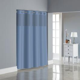 "71""W x 74""L Midnight Blue Polyester Hookless Shower Curtain, with Peva Liner thumb"