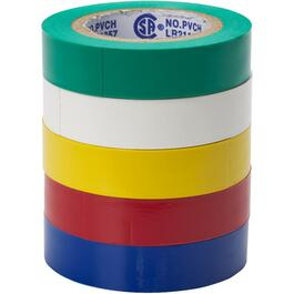 "5 Pack Assorted Colours of 7mil x 1/2"" x 20' PVC Electrical Tape thumb"