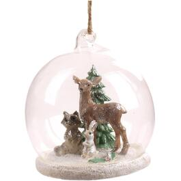 "3"" Glass Dome Deer Scene Ornament, Assorted Models thumb"