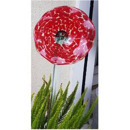 "22"" Red Flower Glass Stake thumb"