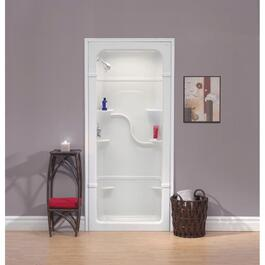 "3 Piece 38"" Left Hand White Acrylic Shower Cabinet thumb"