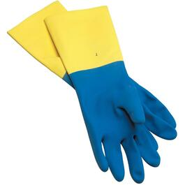 Unisex Small Heavy Duty Long Cuff Latex Rubber Coated Work Gloves thumb