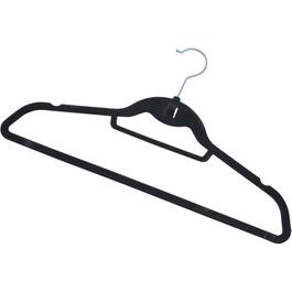 12 Pack Black Flocked Suit Hangers thumb
