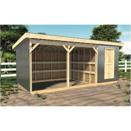 "10' x 20' x 8' 6"" Horse Shelter Package, with Tack Room thumb"