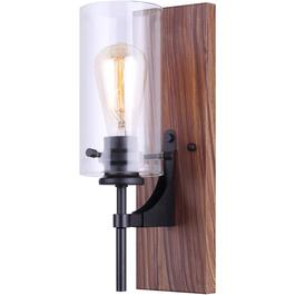Arlie 1 Light Matte Black and Brown Faux Wood Vanity Light Fixture, with Clear Glass Shade thumb