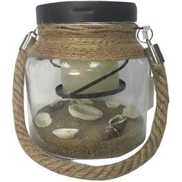 Hanging Glass Jar, with Battery Operated Candle and Shells thumb