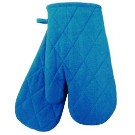 "7"" x 12"" Blue and White Woven Classic Oven Mitts thumb"