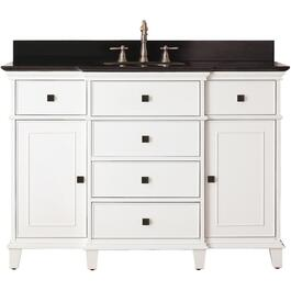 "Princeton 49"" x 22"" 2 Door 5 Drawer White Vanity with Black Top thumb"