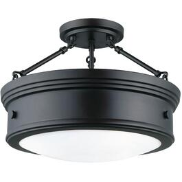 "Boku 15"" Oil Rubbed Bronze Semi-Flush Light Fixture with Flat Opal Glass thumb"