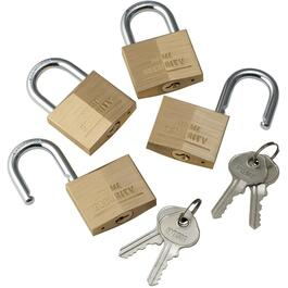 "4 Pack 1-1/2"" Keyed Alike Brass Padlocks thumb"