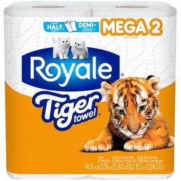 2 Rolls 138 Sheet 2 Ply Tiger Mega Paper Towels thumb