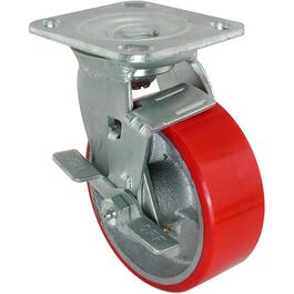 "8"" Polyurethane Mold-On Wheel Swivel Plate Caster thumb"