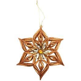 "5.5"" Copper Snowflake Ornament, with Gem thumb"