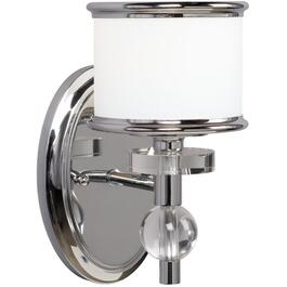Orion 1 Chrome Wall Light with White Glass thumb