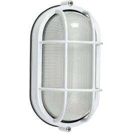 "8.5"" White Oval Outdoor Wall Light Fixture with Frosted Glass thumb"