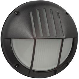 "8.5"" Round Black Outdoor Wall Light Fixture with Frosted Glass thumb"