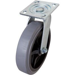 "8"" Grey Thermoplastic Rubber Wheel Swivel Plate Caster thumb"