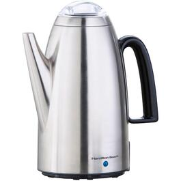 12 Cup Brushed Chrome Coffee Percolator thumb