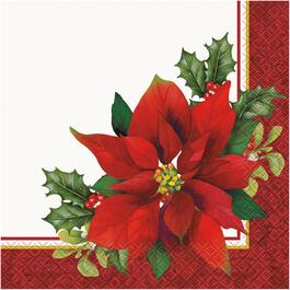 16 Pack Holly Poinsettia Paper Lunch Napkins thumb