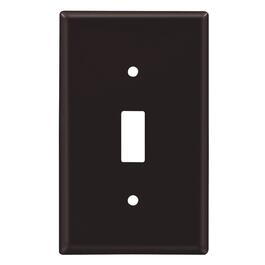 Brown Plastic 1 Toggle Switch Plate thumb