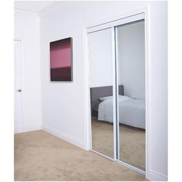 "72"" x 80"" Mirror White Bottom Roll Sliding Door thumb"