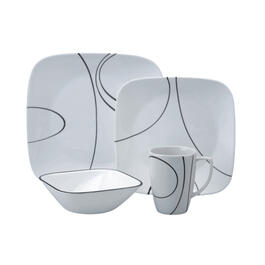 16 Piece Square Simple Lines Dinnerware Set thumb