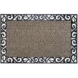 "18"" x 30"" Earth Taupe Wrought Iron Stems and Leaves Astro Turf Door Mat thumb"