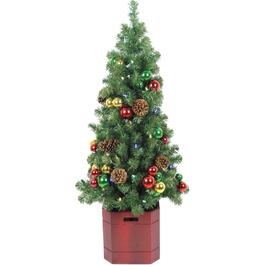 4' Decorated Potted Tree, with 50 Battery Operated LED Lights thumb
