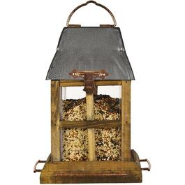 2.5lb Capacity Wooden Bird Feeder, with Metal Roof thumb