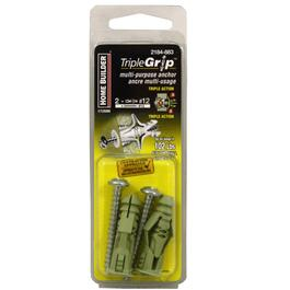 2 Pack #12 Green Plastic Anchors, with Screws thumb
