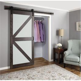 K-Frame Iron Age Finish with Glass Interior Sliding Barn Door, with Hardware thumb