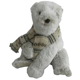 "8.5"" Sitting Bear Plush Figure, with Scarf thumb"