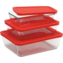 6 Piece Glass Rectangle Storage Dish Set, with Covers thumb