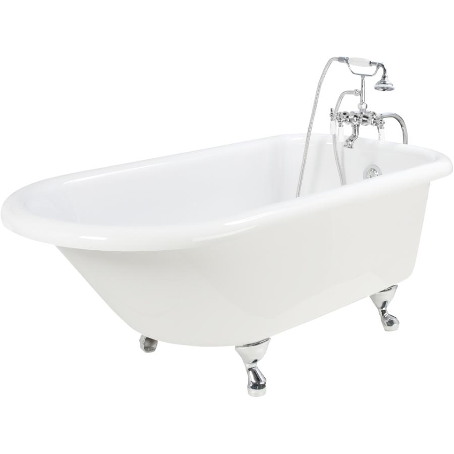 """foremost 60"""" white clawfoot tub, with chrome accessories - home"""