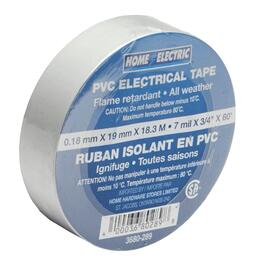 "7mil x 3/4"" x 60' CSA Approved PVC White Electrical Tape thumb"