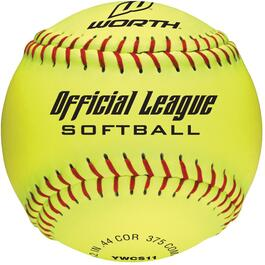 "11"" Yellow Optic Dura Softball thumb"