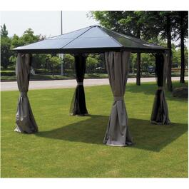 10' x 10' Maldive Polycarbonate Hard Top Gazebo, with Mosquito Net thumb