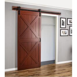 Double X-Frame Cherry Finish Interior Sliding Barn Door, with Hardware thumb