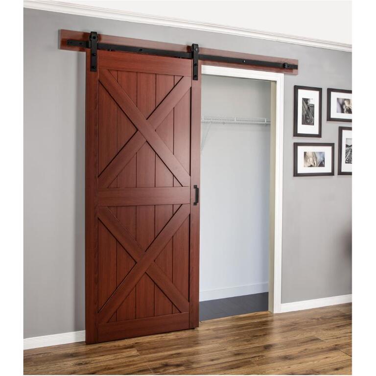Double X Frame Cherry Finish Interior Sliding Barn Door With