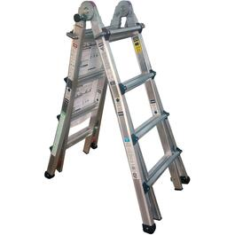 15' Aluminum Multi Function Telescopic Ladder, with Casters thumb