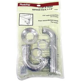 "1-1/4"" Adjustable Chrome Plated P-Trap Drain thumb"