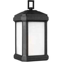 "Gaelan 14.25"" Black Outdoor Downward Coach Light Fixture with Etched Glass thumb"