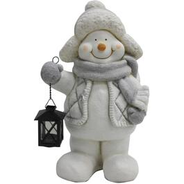 "18"" Resin Snowman Decor, with Lantern thumb"