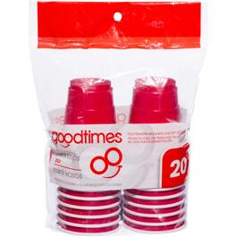 20 Pack 2oz Red and White Mini Plastic Cups thumb