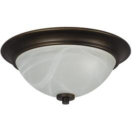 Colonial 2 Light Oil Rubbed Bronze Flushmount Fixture with White Marbled Glass Shade thumb
