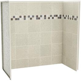 "60"" x 30"" x 60"" 3 Piece Sahara Stone U Tile Tub Wall thumb"